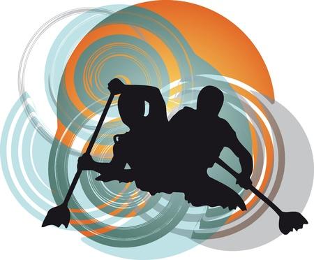 piragua: Kayak en el r�o. Ilustraci�n vectorial