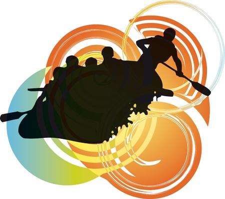 jangada: Ilustraci�n vectorial de Rafting en los r�pidos Vectores