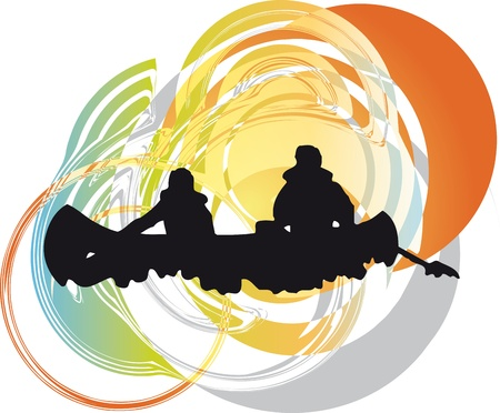 kayaking: tourists in canoe kayaking across the river. Vector illustration