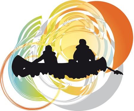 canoa: turistas en canoa kayak por el río. Ilustración vectorial