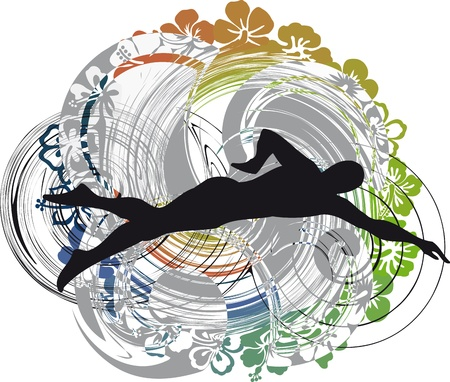 swims: illustration of Man swimming. Vector illustration Illustration