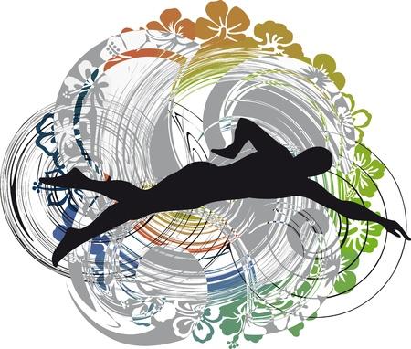 silueta masculina: ilustración de la natación del hombre. Ilustración vectorial Vectores