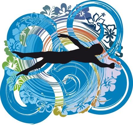 piscina olimpica: ilustraci�n de la nataci�n del hombre. Ilustraci�n vectorial Vectores