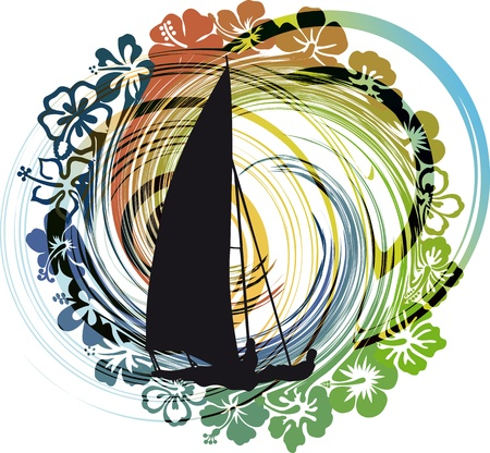 windsurf: Sailing vector illustration.
