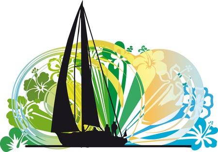 Sailing luxury yacht illustration. Vector