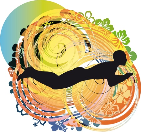 fearless: illustration of Man swimming. Vector illustration Illustration