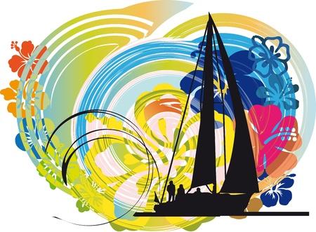 deportes nauticos: Vela ilustración vectorial Vectores