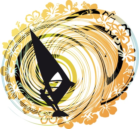 windsurf: windsurfing vector illustration.