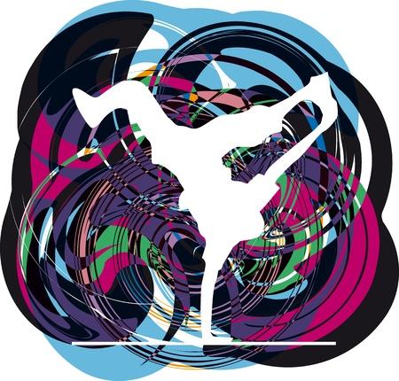 breakdance: Breakdancer dancing on hand stand. Vector illustration