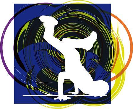 Breakdancer dancing on hand stand. Vector illustration Vector