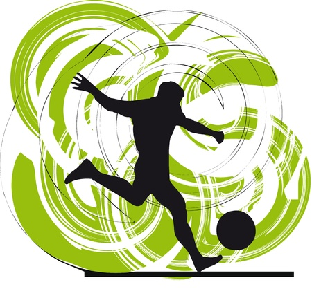 football kick: Football player. Vector illustration