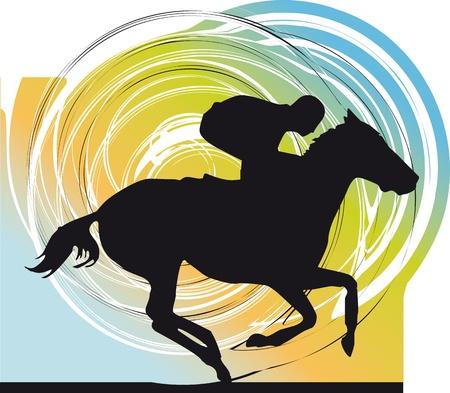 horse races: Siluetas de caballos abstracto. Ilustraci�n vectorial