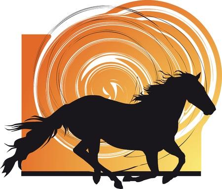 cavallo che salta: Sagome astratte cavalli. Vector illustration