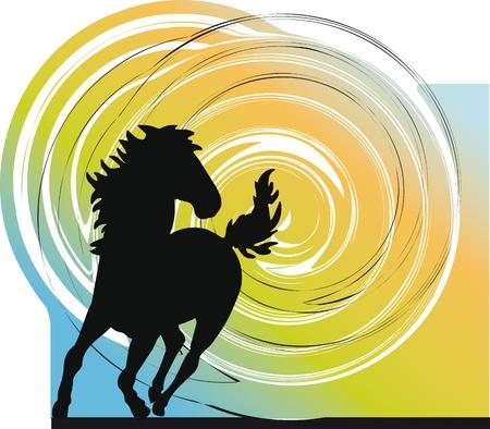 horse saddle: Abstract cavalli sagome. Vector illustration