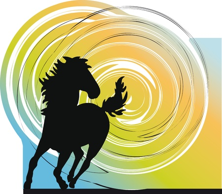 horse hoof: Abstract horses silhouettes. Vector illustration Illustration