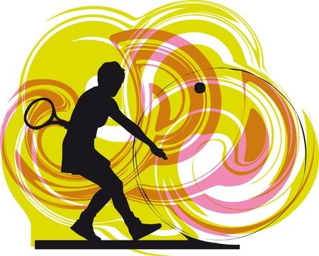 tennis player. Vector illustration Vector