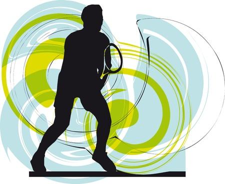 tennis player illustration Stock Vector - 10858518