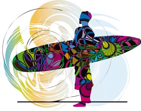 surf silhouettes: Surfer. Illustrazione vettoriale