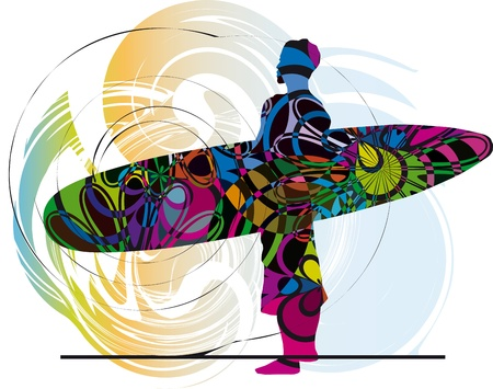 surf silhouettes: Surfer. Vector illustration