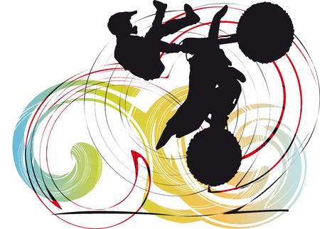 Silhouette of biker on abstract background illustration Stock Vector - 10858525