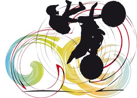freeride: Silueta del ciclista en la ilustraci�n de fondo abstracto Vectores