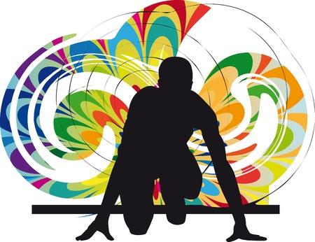 staffel: Runner in Startposition Illustration