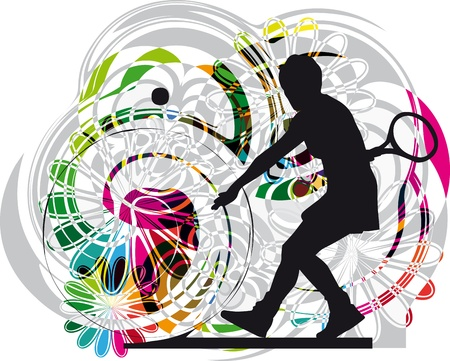 tennis player illustration Stock Vector - 10858534