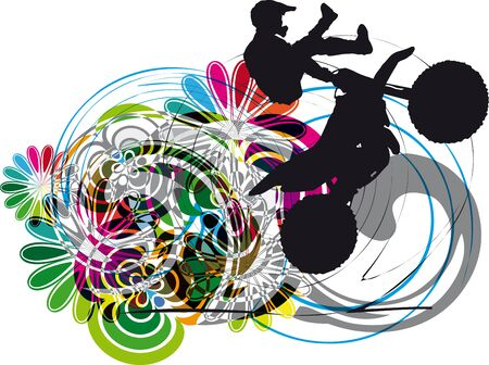 one wheel bike: Silhouette of biker on abstract background illustration