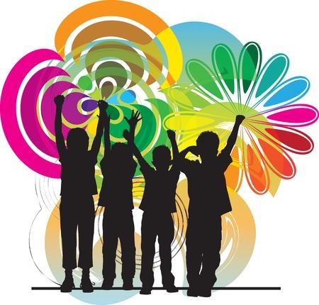 jugendliche gruppe: Freunde Vektor-Illustration Illustration