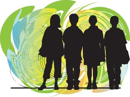 school girl uniform: Amici illustrazione vettoriale