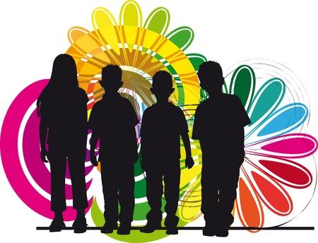 convivencia escolar: Amigos ilustraci�n vectorial