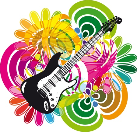 Electric guitar design. Vector illustration Illustration
