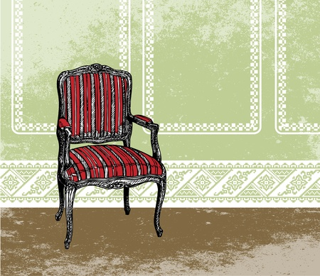 Interior design scene with an armchair Vector