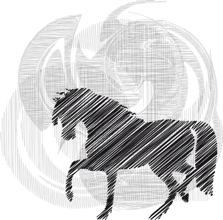 Sketch of abstract horses. Vector illustration Stock Vector - 10842302