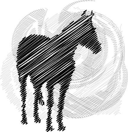Sketch de los caballos abstracto. Ilustración vectorial
