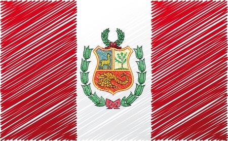 ilustration: peruvian flag, vector ilustration