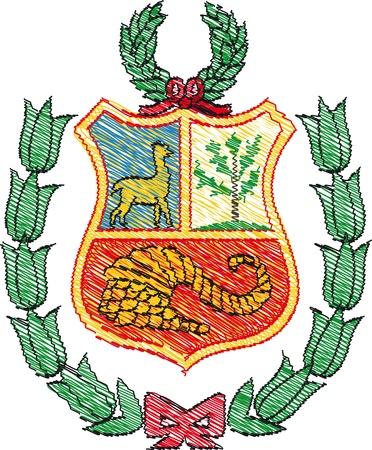 Escudo de armas, Perú. Ilustración vectorial Foto de archivo - 10842020