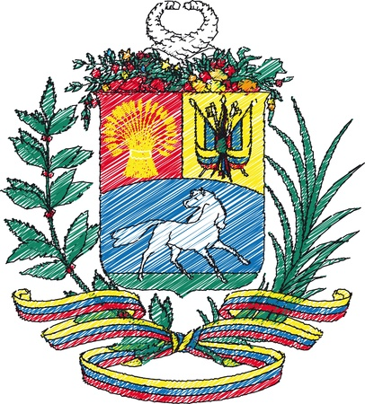 national identity: Coat of arms, Venezuela. Vector illustration