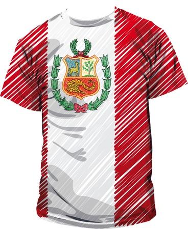bandera de peru: T peruana, ilustración vectorial
