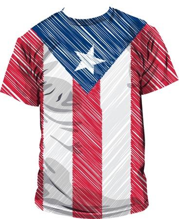 puerto rico tee, vector illustration
