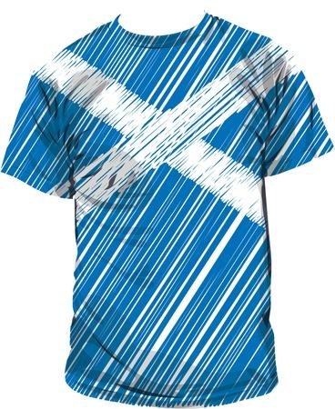 scottish flag: scozzese tee, illustrazione vettoriale Vettoriali