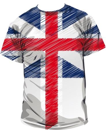 national identity: tee britannico, illustrazione vettoriale Vettoriali