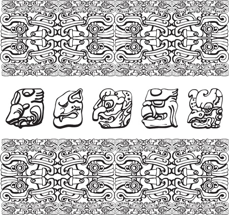 cultura maya: Antiguo patr�n. Ilustraci�n vectorial