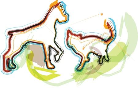 game dog: Cat & Dog illustration Illustration