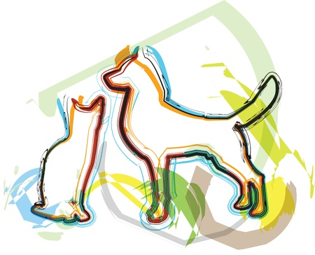 Cat & Dog illustration Stock Vector - 10892736