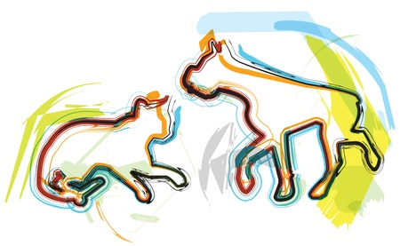 animals together: Cat & Dog illustration Illustration