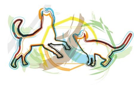 Cat & Dog illustration Stock Vector - 10892760