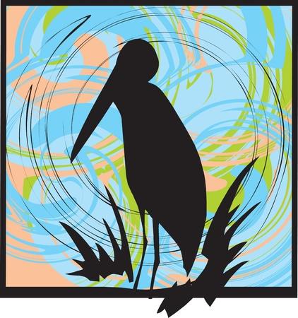 pelican: Pelican Silhouette. vector illustration Illustration