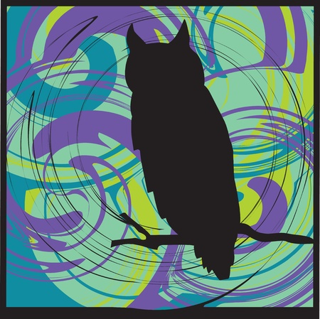 Owl alerted to movement. Vector illustration Vector