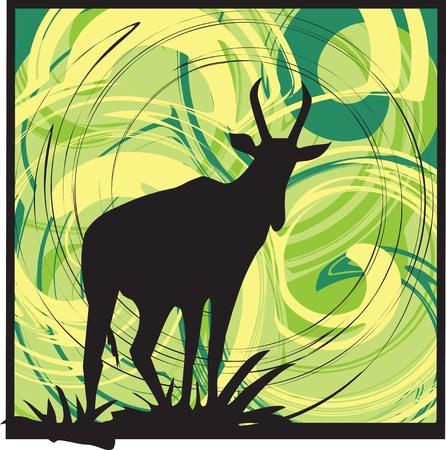 mountain goat: Goat alerted to movement. vector illustration Illustration